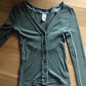 Green free people cardigan